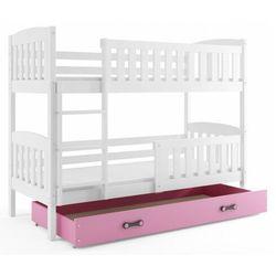 Elior Piętrowe łóżko dla dzieci z różową szufladą 80x190 - elize 2x
