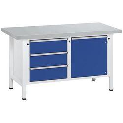 Stół warsztatowy, stabilny, 3 szuflady, drzwi 540 mm, okładzina z blachy stalowe