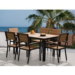 Aluminiowe meble ogrodowe brązowe - dla 6 osób - stół 150 cm - COMO (7081451268419)