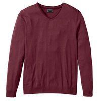 Bonprix Sweter z kaszmirem i dekoltem w serek, regular fit  czerwony klonowy