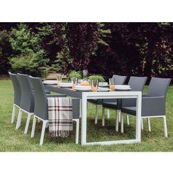 Beliani Stół ogrodowy aluminium szary/biały 210 x 90 cm bacoli