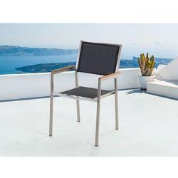 Beliani Meble ogrodowe czarne - krzesło ogrodowe - balkonowe - tarasowe - grosseto, kategoria: zestawy ogrodo