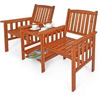 Meble ogrodowe stół 2 krzesła drewniane ławka marki Wideshop