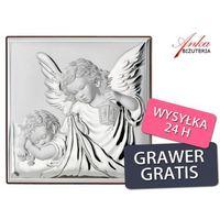 Obrazej srebrny anioł stróż z latarenką -prezent dla dziecka -grawer gratis marki Valenti & co