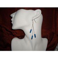 K-00024 Kolczyki z pałeczkami marmuru lazurowego, kolor niebieski