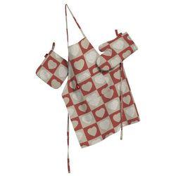 Dekoria Komplet kuchenny fartuch,rękawica i łapacz, serca na lniano-czerwonym tle, kpl, Freestyle - produkt z kategorii- Fartuchy kuchenne
