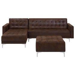 Beliani Sofa rozkładana imitacja skóry old style brąz prawostronna z otomaną aberdeen