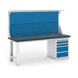 Stół warsztatowy GB z panelem i kontenerem szufladowym, 2100 mm
