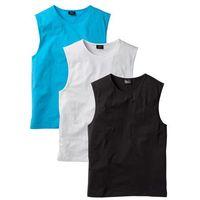 Shirt bez rękawów (3 szt.) regular fit  biały + turkusowy + czarny, Bonprix, S-XXL