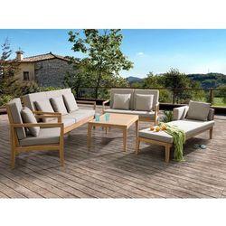 Meble ogrodowe brązowe - stół + 2 ławki + fotel + leżak - pataja marki Beliani