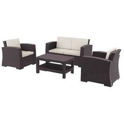 Zestaw mebli ogrodowych z technorattanu Monaco sofa 2 osobowa + 2 fotele + stolik brązowy - produkt dostępny w HAGEA