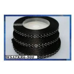 Wstążka satynowa w kropki 6mm/22mb czarna, towar z kategorii: Pozostałe artykuły szkolne i plastyczne