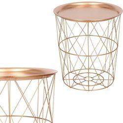 Stolik kawowy loft 40 cm kosz metalowy z tacą industrialny różowe złoto (5907719408743)