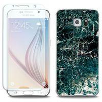 Full Body Slim Fantastic - Samsung Galaxy S6 - etui na telefon Full Body Slim Fantastic - zielony marmur, kolo