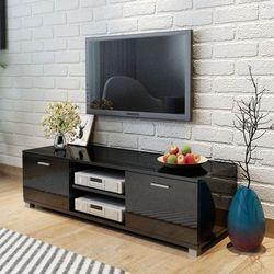 szafka pod tv na wysoki połysk czarna 140x40.3x34.7 cm marki Vidaxl