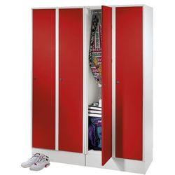 Szafa na garderobę, z przegrodą na buty i półką, jasnoszary / czerwony. spawana marki Eugen wolf