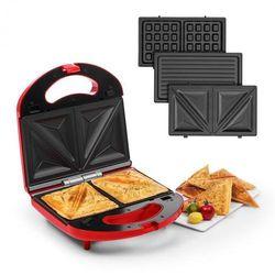 Klarstein Trilit 3 w 1, opiekacz kanapek, 750 W, 3 płyty grillowe, LED, nieprzylepna powierzchnia, czerwony