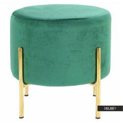 SELSEY Pufa Bingul welwetowa ciemnozielona na złotych nóżkach, kolor zielony