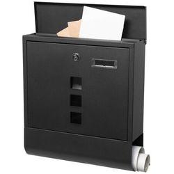 Skrzynka pocztowa na listy 33,5x30,5x9,5cm z gazetnikiem i okienkiem nowoczesna czarny mat