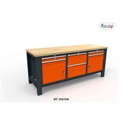 """Stół warsztatowy st20/06 """"trójka"""" z blatem i szafkami metalowy marki Malow"""