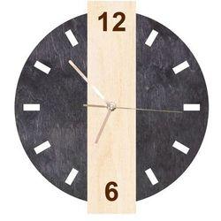 Drewniany zegar dwuczęściowy na ścianę ze złotymi wskazówkami, kolor czarny