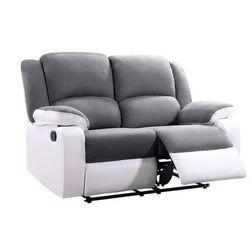 Sofa BILSTON II – 2-osobowa, typ relaks, mikrofibra i skóra syntetyczna – kolor szaro-biały, kolor biały