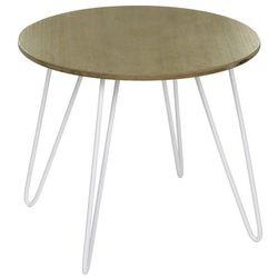 Okrągły stolik kawowy na metalowych nogach, stolik do kawy, stolik do salonu, stolik do pokoju, biały stolik, stolik metalowy marki Atmosphera créateur d'intérieur