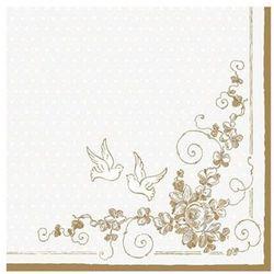 Serwetki Gołębie, biały, 33 x 33cm Ślub Wesele