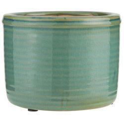 Ib Laursen - Doniczka ceramiczna szkliwiona zielona niska