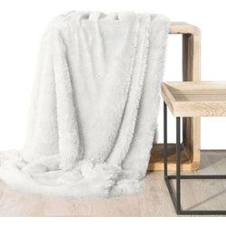 Koc narzuta na fotel TIFFANY 70x160 biały