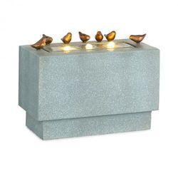 waterbirds, fontanna ogrodowa, led, 60 x 47 x 30 cm, cement, aluminium, szara marki Blumfeldt