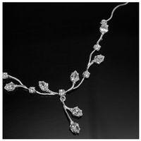 Anka biżuteria Kolia srebrna z cyrkoniami w kształcie listków