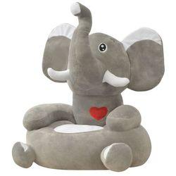 vidaXL Fotel dla dzieci słoń, pluszowy, szary (8718475509080)