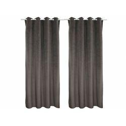 Zestaw 2 zasłon luxe – welur poliestrowy – 140 × 260 cm – kolor szary marki Vente-unique
