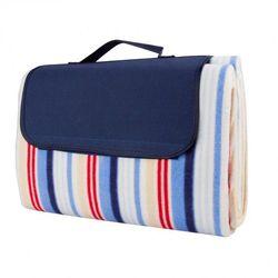 Składany koc piknikowy inSPORTline 130x180 cm wodoodporny - Kolor niebieskie prążki - produkt z kategorii-