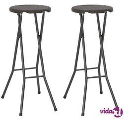 vidaXL Składane stołki, 2 szt., HDPE i stal, brązowe, rattanowy wygląd (8718475623632)