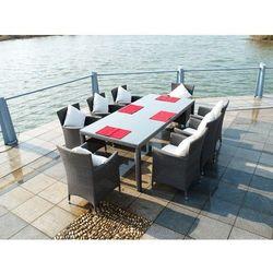 Zestaw mebli ogrodowych stół i krzesła Gustaw II z tehnorattanu szary szczotkowany, BG-0105