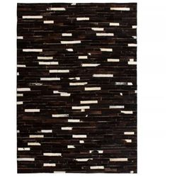 Dywan ze skóry, patchwork w paski, 80x150 cm, czarno-biały marki Vidaxl