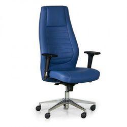 Fotel biurowy Charter, prawdziwa skóra, niebieski