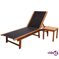 leżak ze stolikiem, drewno akacjowe marki Vidaxl