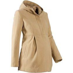 Płaszcz ciążowy z kapturem, z regulacją obwodu  beżowy, marki Bonprix