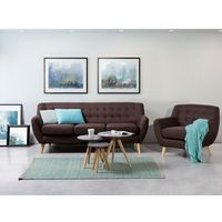 Sofa czekoladowa - kanapa - sofa tapicerowana - MOTALA, kolor brązowy