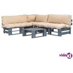 vidaXL Ogrodowe meble z palet, 4 cz., drewno FSC + piaskowe poduszki (8718475727941)