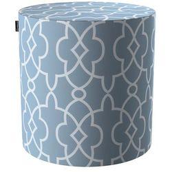 puf barrel, błękitny w biały marokański wzó, ø40, wys. 40 cm, gardenia marki Dekoria