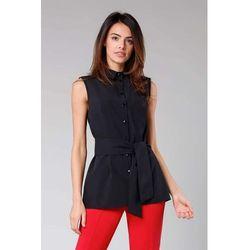Czarna Elegancka Koszula bez Rękawów z Wiązaną Szarfą, kolor czarny