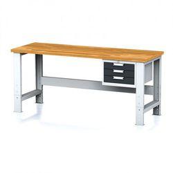 Stół warsztatowy mechanic, 2000x700x700-1055 mm, nogi regulowane, 1x szufladowy kontener, 3 szuflady, antracyt marki B2b partner