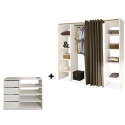 Zestaw garderoba + mebel do przechowywania emeric - biały i ciemnoszary marki Vente-unique