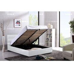 Łóżko 120x200 tapicerowane arezzo + pojemnik białe ekoskóra marki Big meble