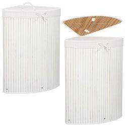 Kosz na pranie 73L narożny pojemnik z klapą bambus naturalny biały