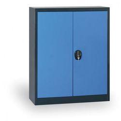 B2b partner Szafa metalowa, 1150x800x400 mm, 2 półki, antracyt/niebieski, kategoria: szafy i witryny